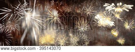 exploding fireworks New Year background