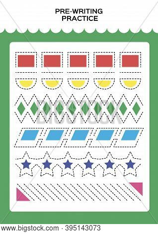 Shapes. Tracing Practice For Kids. Pre-writing Worksheet For Little Children. Prescool Or Kindergart