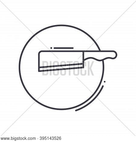 Kitchen Block And Cleaver Icon, Linear Isolated Illustration, Thin Line Vector, Web Design Sign, Out