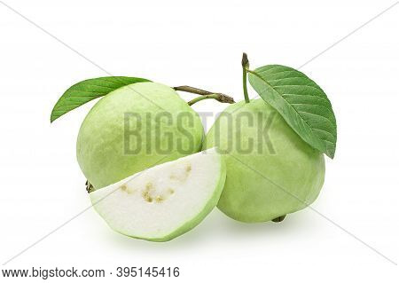 Organic Guava Fruit With Green Leaf On White Isolated Background With Clipping Path, Studio Shot. Gu