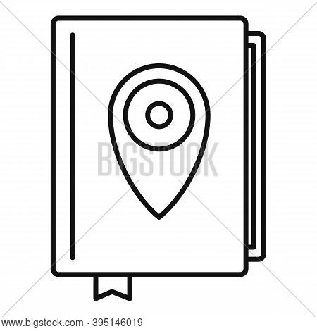 Guide Tour Book Icon. Outline Guide Tour Book Vector Icon For Web Design Isolated On White Backgroun