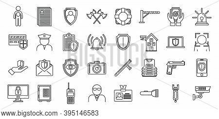 Security Personal Guard Icons Set. Outline Set Of Security Personal Guard Vector Icons For Web Desig