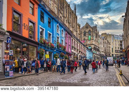 EDINBURGH,UK - AUGUST 14,2019 : Victoria Street in Edinburgh, with its coloful buildings and independent shops this is one of the top attractions of the scottish capital