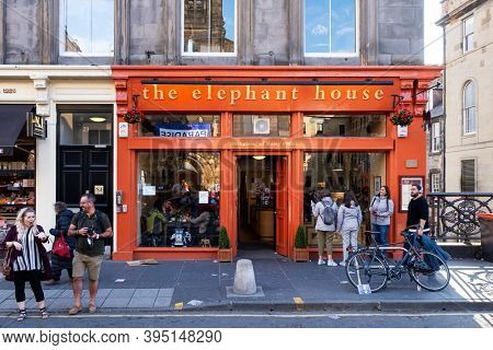 EDINBURGH,UK - AUGUST 13,2019 : The Elephant House coffee house at Edinburgh, famous for being one of the places where JK Rowling wrote the Harry Potter books