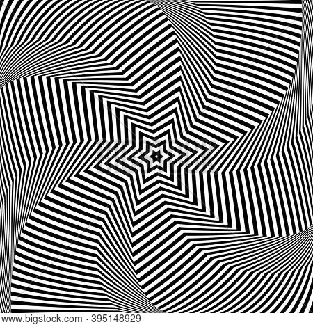 Abstract op art design. Star and lines pattern.