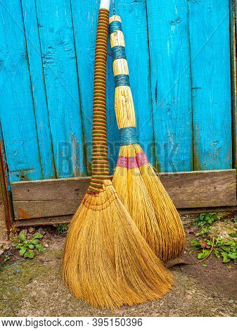 Wicker Broom Made Of Sorghum For Indoor Sweeping. Broom For Sweeping The Floor. House Cleaning. Clea