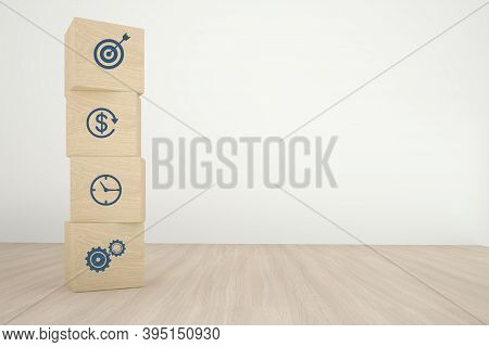 Arranging Wood Cube Block Stacking With Icon Business Strategy And Action Plan On Wood Background. 3