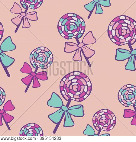 Vector Seamless Pattern Of Lollipop Candies On A Light Pink Background. Design For Sweets Shop.
