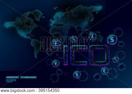 Initial Coin Offering Ico Letters Technology Concept. Business Finance Economy World Map. Currency C