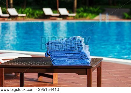 Close-up of towels at a swimming pool