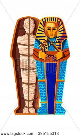 Mummy Creation Cartoon Vector Illustration. Stages Of Mummification Process, Embalming Dead Body, Wr