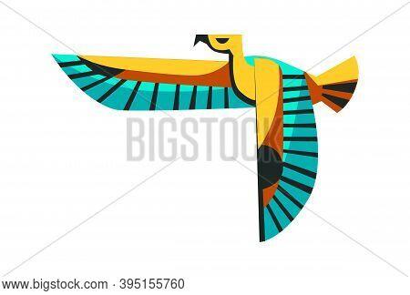 Sacred Animal Of Ancient Egypt, Flying Falcon, The Embodiment Of The Sun God Ra Horus, Cartoon Vecto