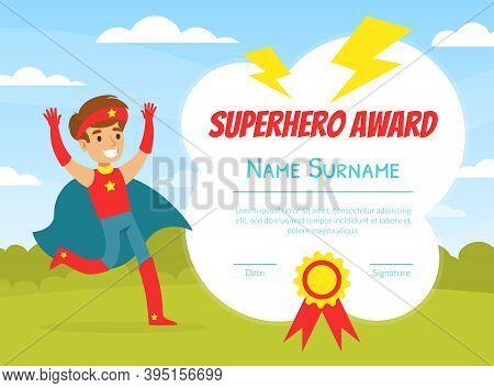Superhero Award Template With Place For Your Text, Preschool, Kindergarten Kids Diploma, Certificate