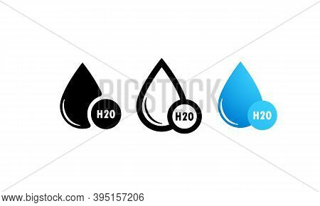 H2o Icon Set In Black, Blue. Water Drop Icon Logo. Chemical Formula H2o. Vector Illustration. Flat D