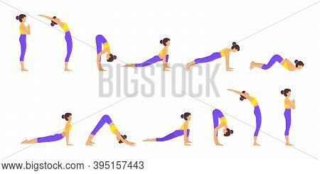 Surya Namaskar A Sun Salutation Yoga Asanas Sequence Set Vector Illustration. Young Woman Do Morning