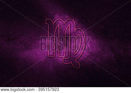 Virgo Zodiac Sign, Night Sky,horoscope Astrology Background,virgo Horoscope Symbol, Violet Horosco