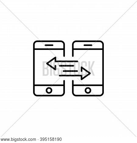 Synchronization Icon. Data Synchronization Between Two Smartphone. Sync, Transfer Concept. Vector Ep