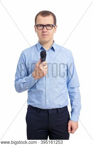 Young Male Journalist Or Reporter With Microphone Isolated On White Background