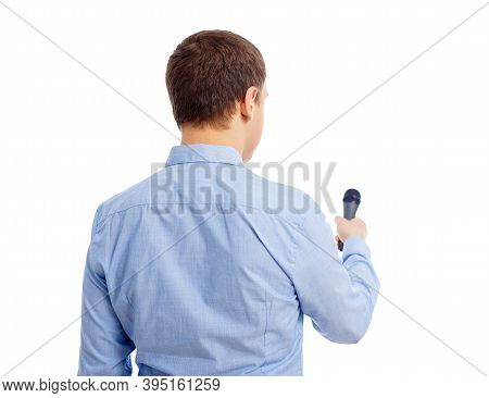 Back View Of Male Journalist Or Reporter With Microphone Interviewing Anybody Isolated On White Back