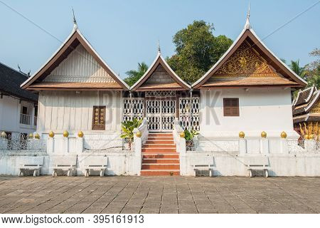 Buddhist Monk's Dwelling In Wat Xieng Thong An Iconic Temple In Luang Prabang, The Unesco World Heri