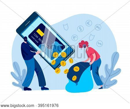 Hackers Drained The Money From The Virtual Card In The Bag. Concept Of A Vector Illustration On The