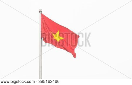 Vietnam Flag On The Flagpole Isolated On White Sky. Flag Of Vietnam First Used During An Uprising Ag