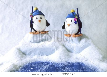 Toy Penguins Fishing