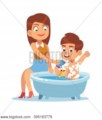 Daily Mother. Mom Bathes The Child, Mother Helps Boy Take Water Treatments, Washes With Shampoo Foam