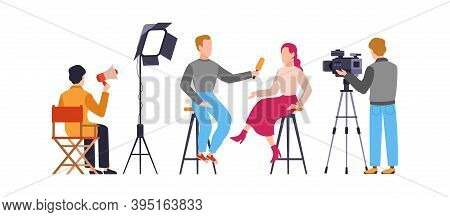 Press Interview With Cameraman. Journalist Interviews Woman. Newscaster And Journalist Profession. O