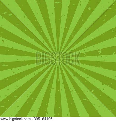 Sunlight Retro Faded Grunge Background. Green Color Burst Background.