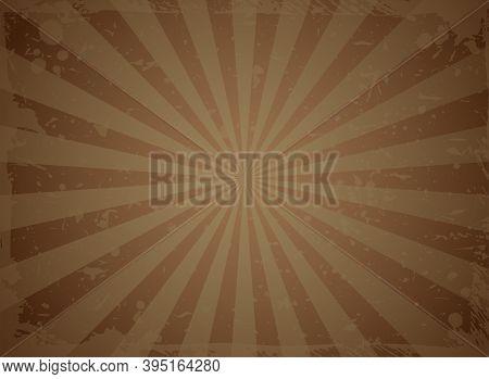 Sunlight Retro Faded Grunge Background. Dark Brown Chocolate Color Burst Background. Vector Illustra