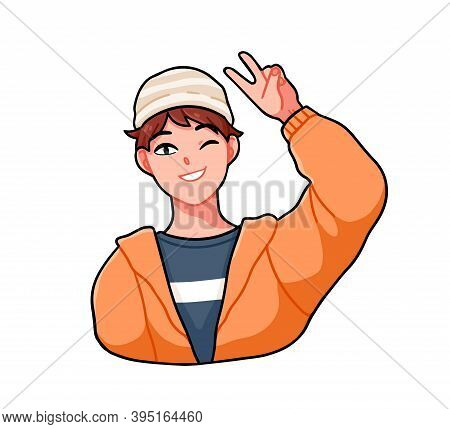 Cheerful Anime Boy Wink And Giving A V Sign. Happy Male Character In Street Style Clothes. Vector Ca