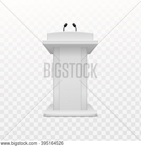 Debate Speaker Podium. Realistic Tribune White Stand With Microphone Front View, Pedestal For Lectur