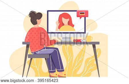 A Girl Sits In Front Of A Computer Monitor At Lesson In German With Native Speaker. The Teacher On S