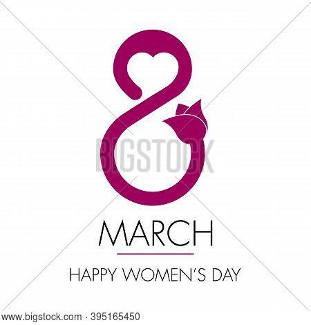 Creative 8 March Logo Vector Design With International Womens Day Icon.womens Day Symbol.minimalisti