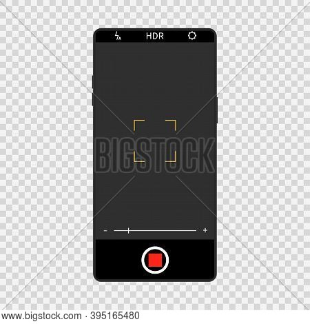 Camera Screen Interface On Realistic Smartphone. Mobile Video And Photo Application Design, Camera V