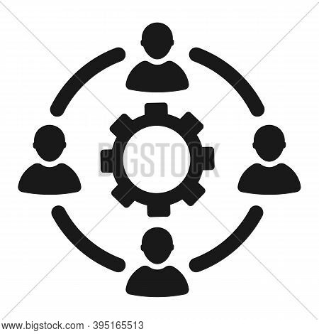 Collaborative People With Gear Icon. Flat Design, Vector Illustration