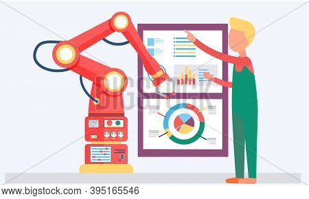 Male Scientist And Mechanical Arm Conducting Experiments. Artificial Intelligence Concept. The Guy I