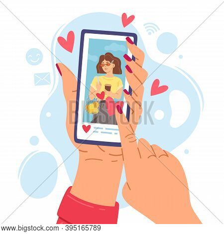 Two Hands Holding Phone. Cartoon Girl Smartphone Screen Gets Likes, Social Networks Communication Sy