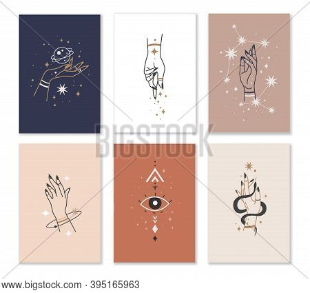 Female Hands Cards. Linear Woman Hand Combination With Mystic Witchcraft Elements In Minimalistic St