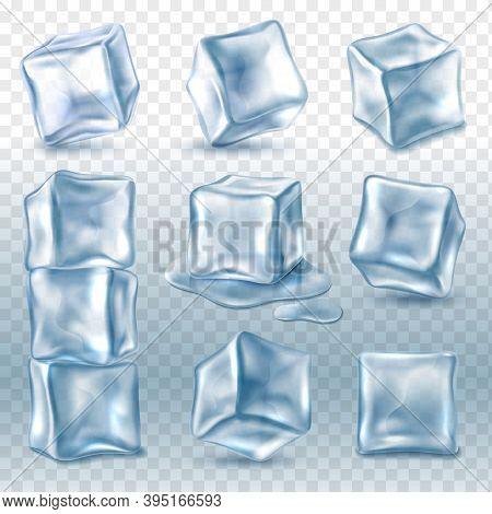 Ice Cubes. 3d Ice Piece Various Angles Collection, Transparent Frozen Clear Water Blocks For Cold Dr