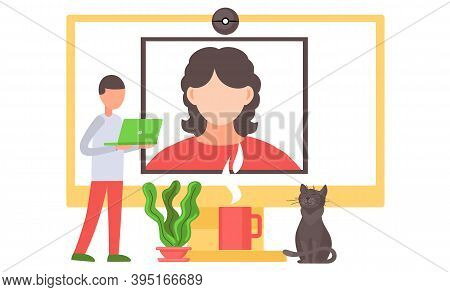 Online Meeting Workspace, Videoconferencing. Video Call Chat Conference Illustration. Woman And Man