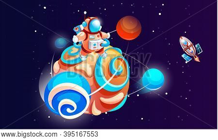 Cartoon Astronaut On The Planet Vector Illustration. Cosmonaut In Outer Space With Rocket. Spaceman