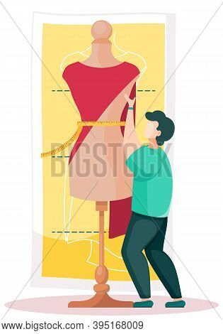 Man Hold A Red Cloth And Put It On A Mannequin To Create A Dress. Seamstress Is Working On A Model O