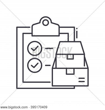 Production Checklist Icon, Linear Isolated Illustration, Thin Line Vector, Web Design Sign, Outline