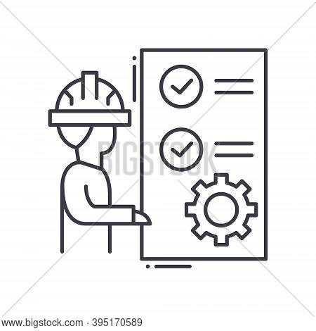 Production Plan Icon, Linear Isolated Illustration, Thin Line Vector, Web Design Sign, Outline Conce