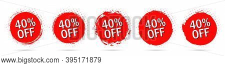 Grunge Discount Stickers Collection With 40 Percent Off In Red With Halftone