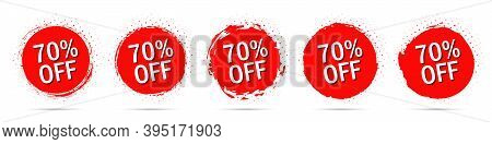 Grunge Discount Stickers Collection With 70 Percent Off In Red With Halftone