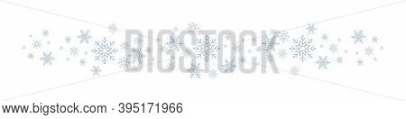 Snowflakes. White Winter Background With Snowflakes Border. Christmas Background For Greeting Card.