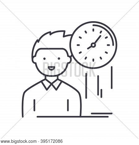 Punctuality Icon, Linear Isolated Illustration, Thin Line Vector, Web Design Sign, Outline Concept S
